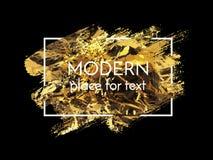Vector gold paint smear stroke stain set. Abstract gold glitteri stock illustration