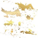 Vector gold paint smear stroke stain set. Abstract gold glittering textured art illustration. Abstract gold glittering textured ar stock illustration