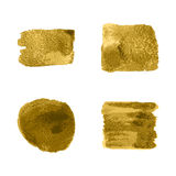 Vector gold paint smear stroke stain set on white background. Ab Stock Photo
