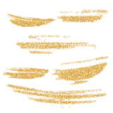 Vector gold paint smears set. Gold glitter element on white background. Gold shiny paint stroke. Abstract gold glitter dust. Stock Photography