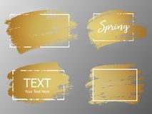 Free Vector Gold Paint Stroke With Border Frame. Dirty Artistic Desig Royalty Free Stock Image - 114342546