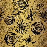 Vector gold pattern with black flowers. Decorative floral silhouettes Royalty Free Stock Photo
