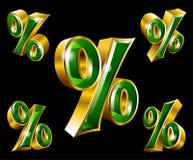 Vector golden percent sign in 3D style. Vector gold percent sign in 3D style with different angles Stock Photos