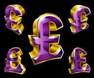 Vector golden pound sterling symbols in 3D style Royalty Free Stock Photos