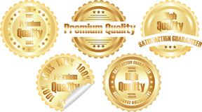 Vector gold  premium quality label. Isolated on white Stock Photo
