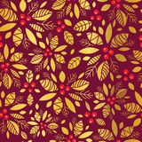 Vector gold and red holly berry holiday seamless pattern background. Great for winter themed packaging, giftwrap, gifts Royalty Free Stock Image