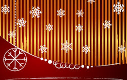 Vector gold-red striped christmas background. With copyspace Stock Photo