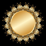 Vector gold round ornament. Vector gold floral round ornament with place for text Royalty Free Stock Image