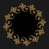 Vector gold round ornament. Vector gold floral round ornament for print, embroidery on black background Royalty Free Stock Photos