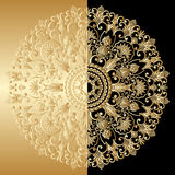 Vector gold round ornament. Vector illustration with vintage lace floral pattern Royalty Free Stock Photos