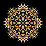 Vector gold round ornament. Vector vintage floral round pattern for print, embroidery Royalty Free Stock Photography