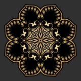 Vector gold round ornament. Vector vintage gold floral round pattern for print, embroidery Stock Images