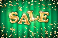 Vector Gold sale balloons background on green curtain store banners, advertising, shopping. Logo, logotype, sign, symbol. text, se vector illustration