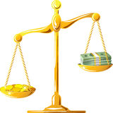 Vector  gold scale with coines and banknotes Royalty Free Stock Photo