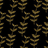 Vector gold seamless pattern, floral texture with hand drawn flowers and plants.  ornament. Trendy Stock Image