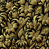 Vector gold seamless pattern, floral texture. royalty free illustration