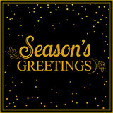 Vector gold seasons greetings card design. Royalty Free Stock Image