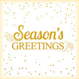 Vector gold seasons greetings card design. Stock Photography