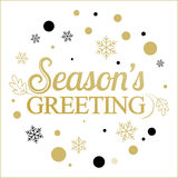Vector gold seasons greetings card design. Stock Images