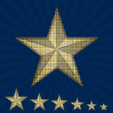Vector gold sequin star on a blue background. Royalty Free Stock Photography
