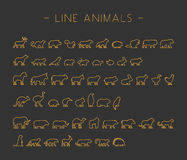 Vector gold set of line silhouettes animals Royalty Free Stock Image
