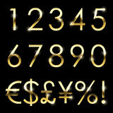 Vector gold shiny font set currency, numbers and special symbols royalty free illustration