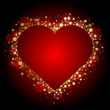 Gold shiny heart on red background Stock Photos
