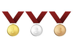 Vector gold, silver and bronze award medals with red ribbons set isolated on white background. The first, second, third. Vector gold, silver and bronze award Stock Image