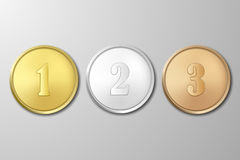 Vector gold, silver and bronze award medals set on gray background. The first, second, third prizes. Gold, silver and bronze award medals set on gray background Stock Photography
