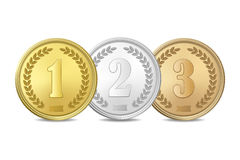 Vector gold, silver and bronze award medals set isolated on white background. The first, second, third prizes. Royalty Free Stock Photo
