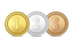Vector gold, silver and bronze award medals set isolated on white background. The first, second, third prizes. Gold, silver and bronze award medals set isolated Royalty Free Stock Photos
