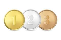 Vector gold, silver and bronze award medals set  on white background. The first, second, third prizes. Gold, silver and bronze award medals set  on white Stock Photos