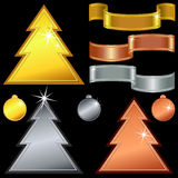 vector Gold, silver, bronze christmas trees Royalty Free Stock Photo