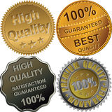 Vector Gold, silver and bronze medals for quality. Vector set of gold, silver and bronze medals for best, premium, high quality, 100 percent guaranteed, isolated Royalty Free Stock Photography