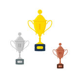 Vector gold, silver, bronze trophy cup or awards. Isolated on white background. Stock Image