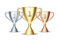 Vector gold, silver and bronze winner cup Royalty Free Stock Photo