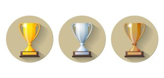 Vector gold, silver and bronze winners cup Flat Stock Photo