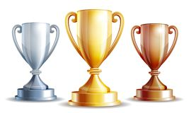 Vector gold, silver and bronze winners cup. Royalty Free Stock Image