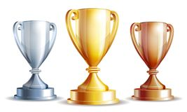 Vector gold, silver and bronze winners cup. Vector illustration Stock Photos
