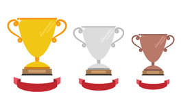 Vector gold, silver and bronze winners cup with ribbon. Vector i. Llustration Stock Photo