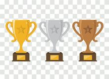 Vector gold, silver and bronze winners cup. Vector illustration Stock Images