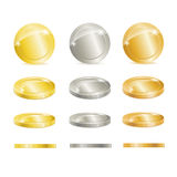 Vector Gold, silver, and copper coins Stock Photography