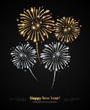 Vector gold and silver fireworks on black background. Royalty Free Stock Images