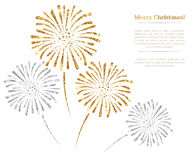 Vector gold and silver fireworks on white background. Royalty Free Stock Photography