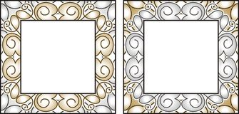 Vector gold and silver frames Royalty Free Stock Photo