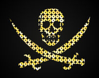 Vector gold skull. Pirate flag. Sequins object. Stock Photo