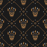 Vector gold skull seamless pattern Art Deco Dark background Royalty Free Stock Image