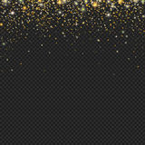 Vector gold snow glitter particles texture on a black background. Snowfall with confetti, Stock Photos