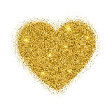 Vector gold sparkles heart on white background. Stock Images
