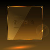 Vector gold square glass - light background and banner Stock Image